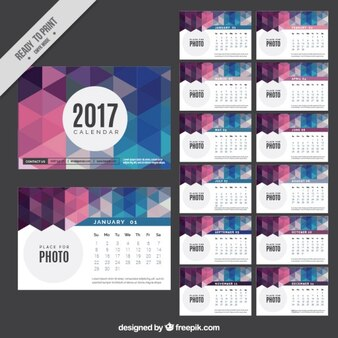 Polygonal 2017 new year calendar
