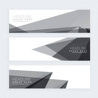 Polygonal banner in color gray