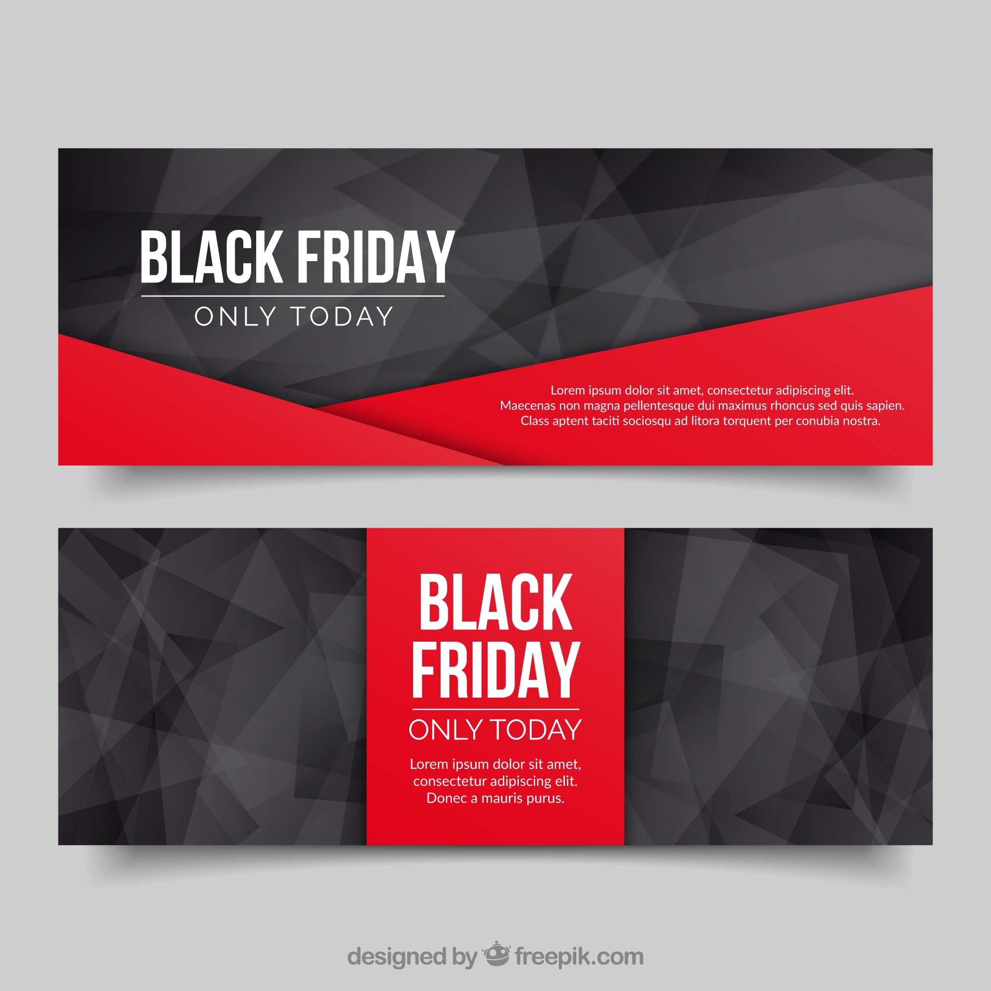 Polygonal banners black friday