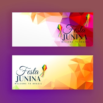 Polygonal banners for festa junina