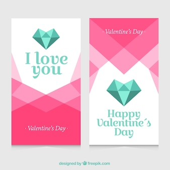 Polygonal banners for valentine's day