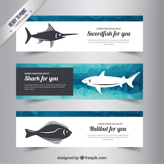 Polygonal banners with fishes