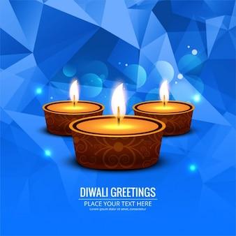 Polygonal blue background of diwali