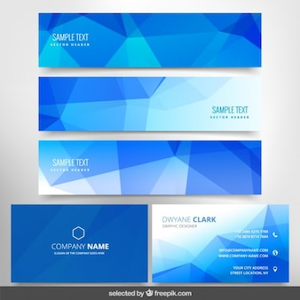 Polygonal blue business stationery