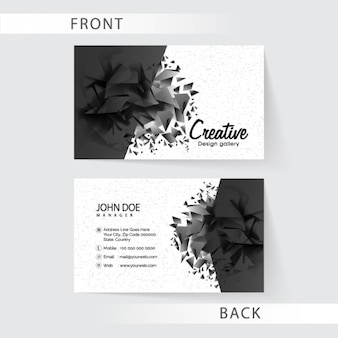 Polygonal business card in black tones