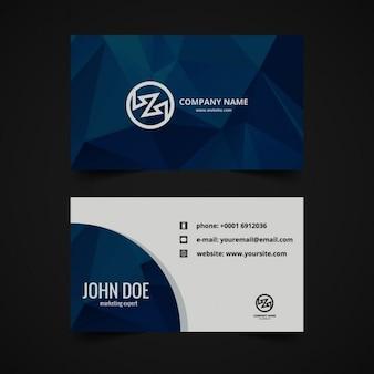 Polygonal business card in dark blue
