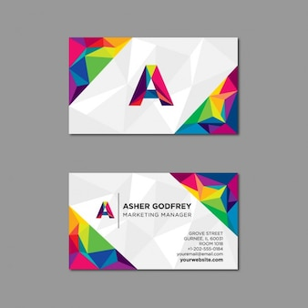 Polygonal business card in multiple colors