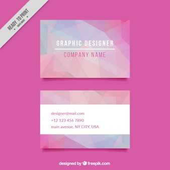 Polygonal business card in pink tones