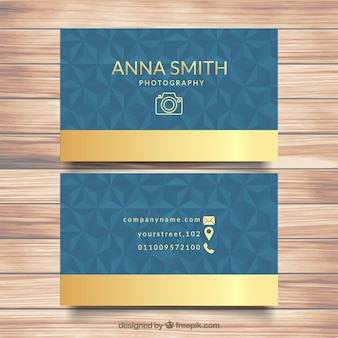 Polygonal business card with golden details
