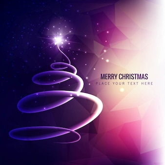 Polygonal christmas background in purple tones