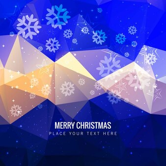 Polygonal christmas background with snowflakes