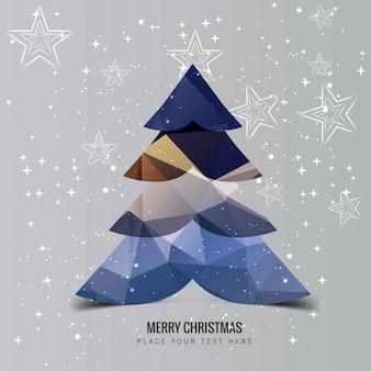 Polygonal christmas tree on star background