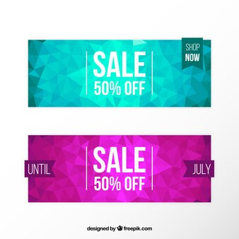 Polygonal discount banners