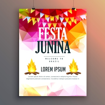 Polygonal festa junina poster with bonfires