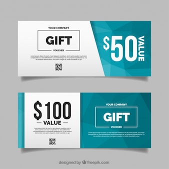 Polygonal gift voucher in flat design