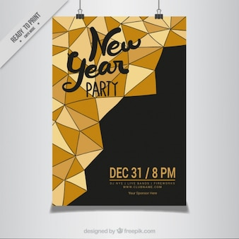 Polygonal golden poster for new year