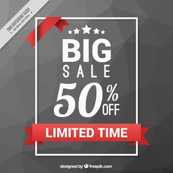 Polygonal grey sale background