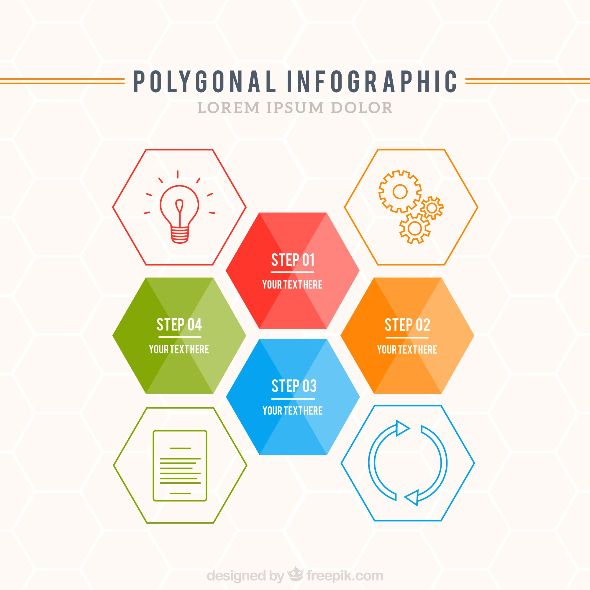 Polygonal infographic template