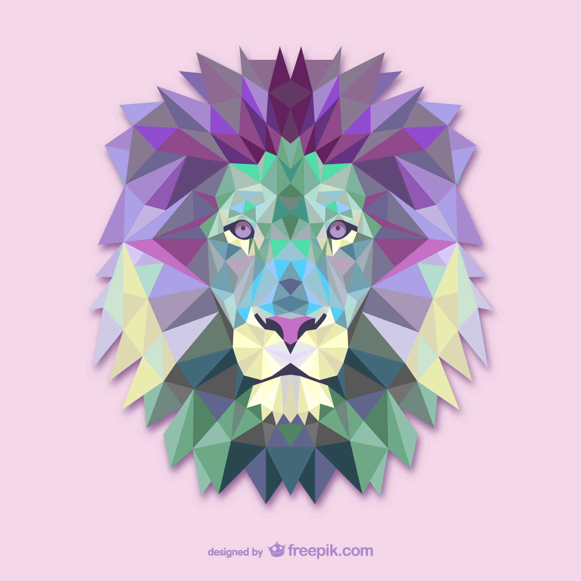 Polygonal lion head