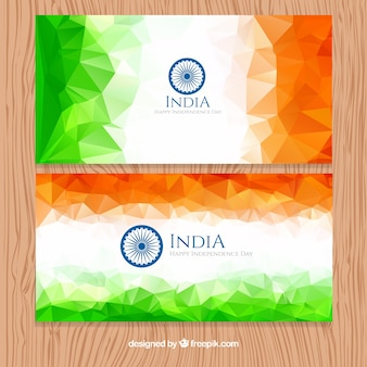 Polygonal modern india banners