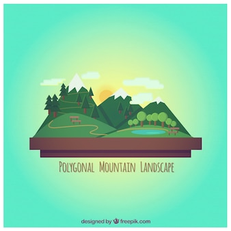 Polygonal mountain landscape