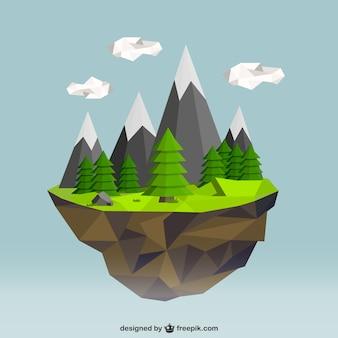 Polygonal nature landscape