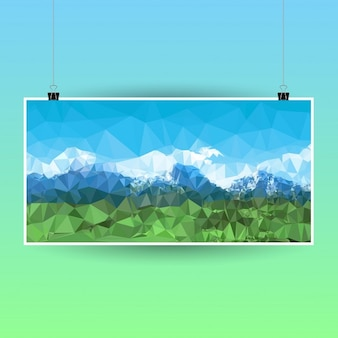 Polygonal poster with a mountain landscape