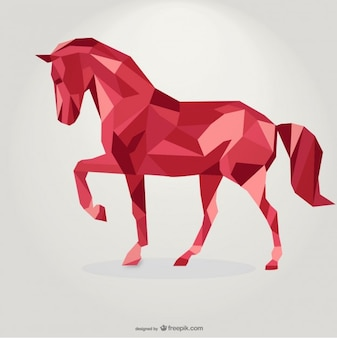 Polygonal Red Horse Geometric Triangle Design