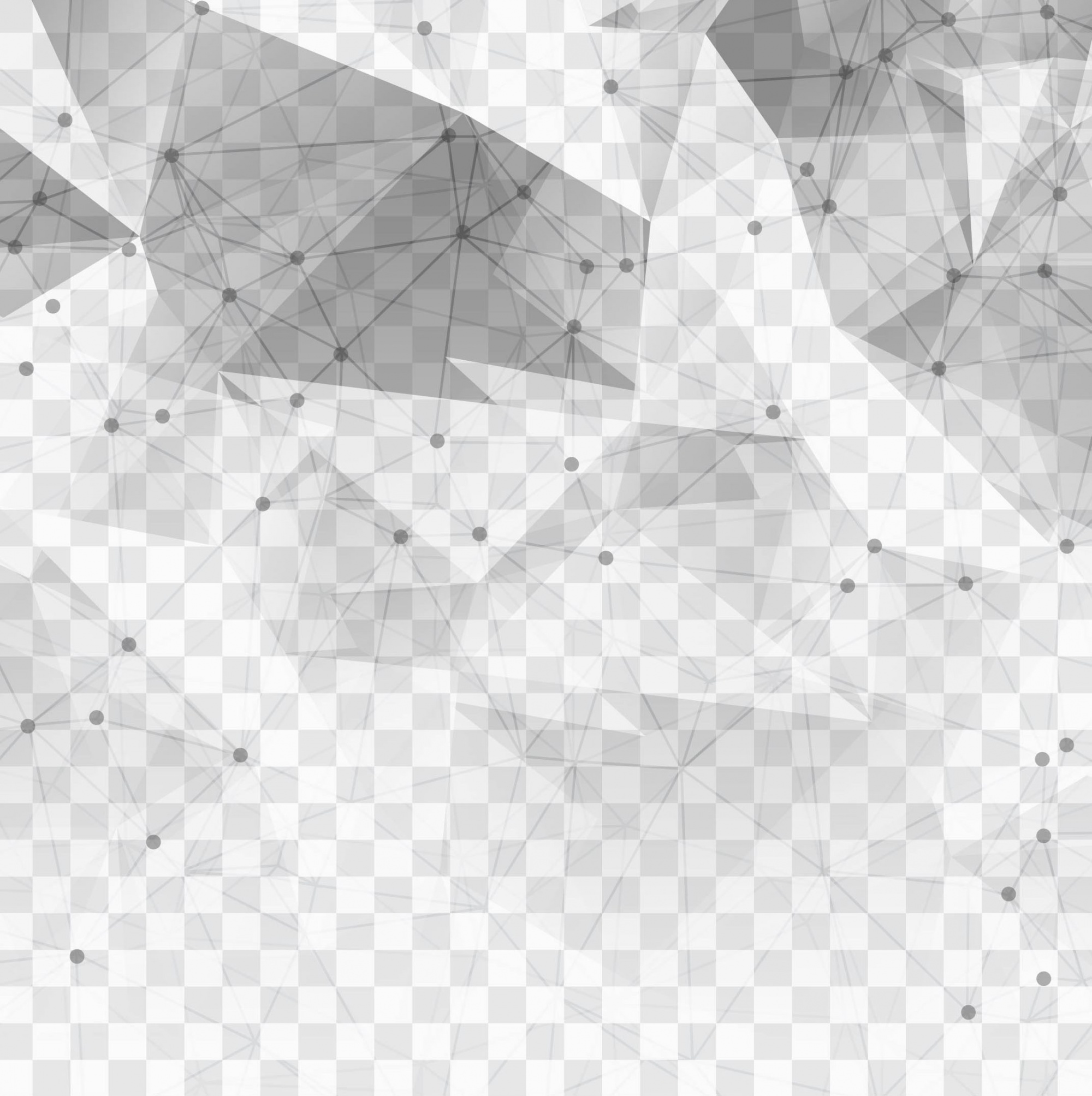 Polygonal technological elements on a transparent background