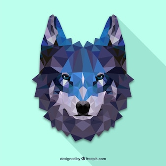 Polygonal wolf face