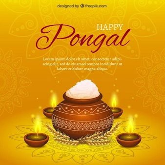Pongal rice pot on yellow background