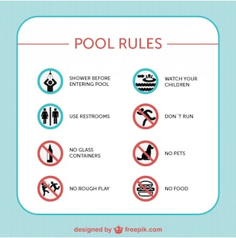 Pool safety rules signs