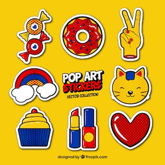 Pop art stickers with fun style
