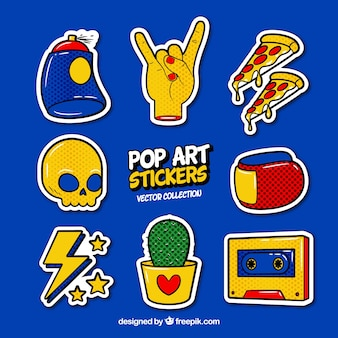 Pop art stickers with modern style