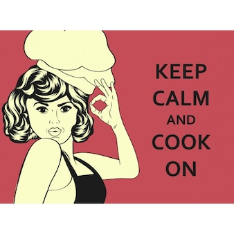 Pop art style woman cook