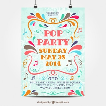 Pop party vector poster