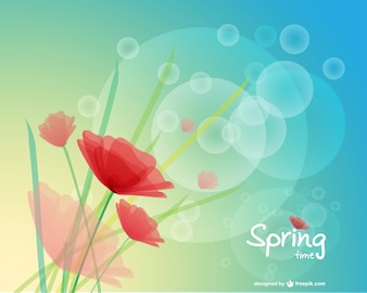 Poppy vector spring background