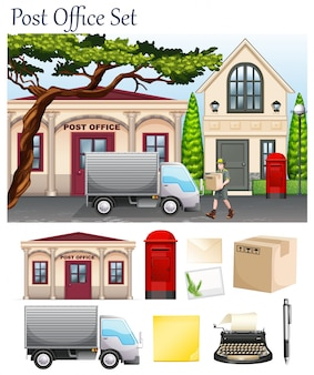 Post office and postal objects illustration
