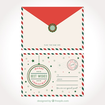 Postcard and christmas elegant envelope