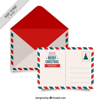Postcard and christmas envelope with decorative borders