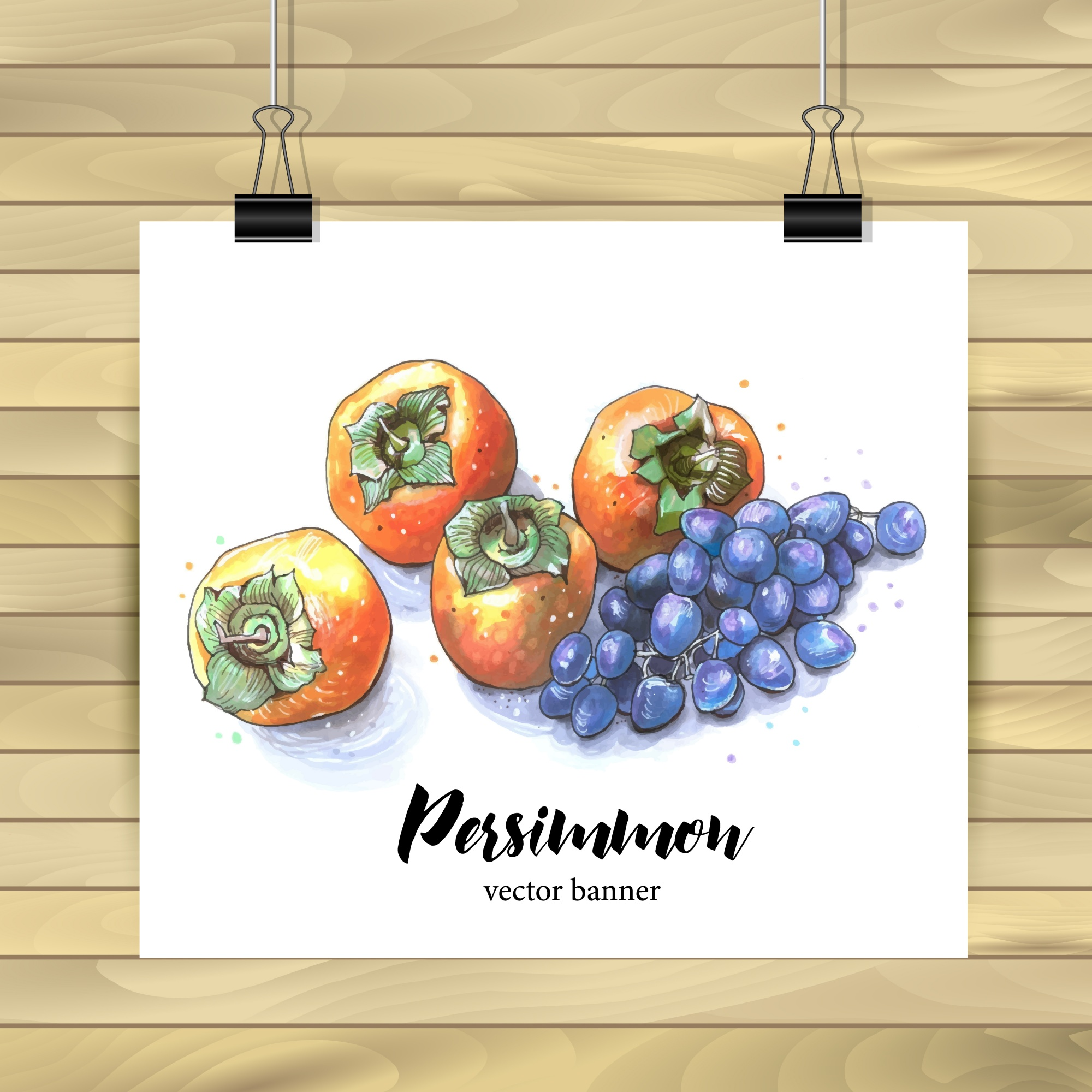 Poster decoration with persimmons