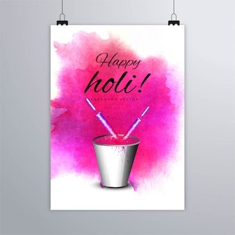 Poster for holi decorated with pink watercolors