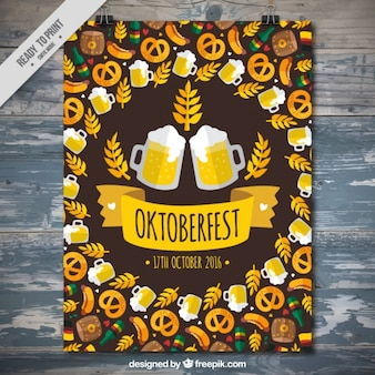 Poster for oktoberfest with traditional elements