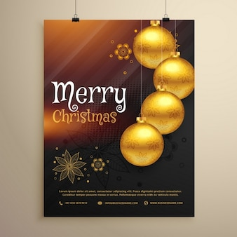 Poster, golden balls, christmas