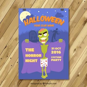 Poster halloween of nude zombie