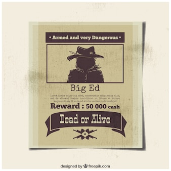 Poster of dangerous criminal with reward
