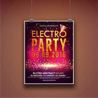 Poster of electro party with shiny shapes