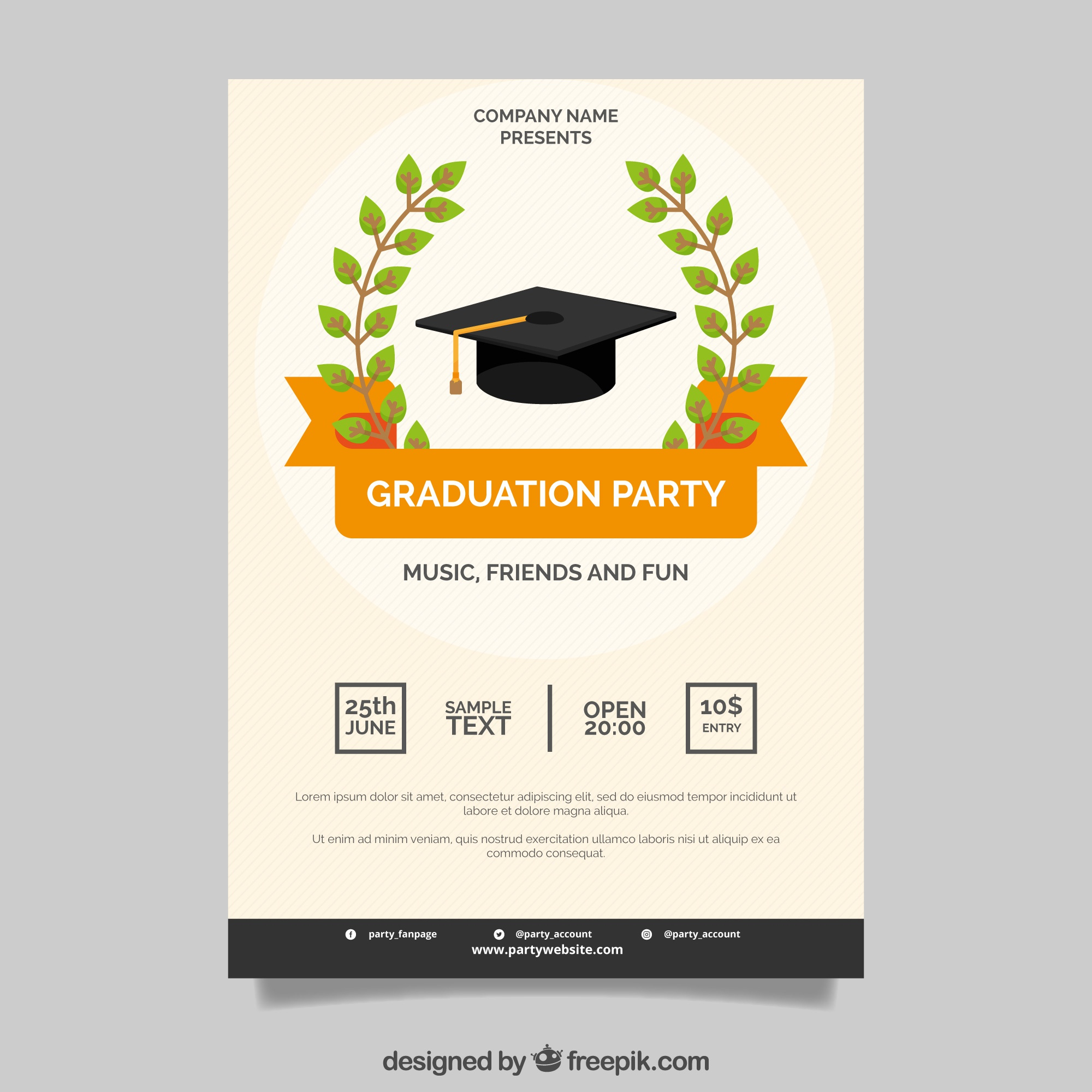 Poster of graduation party with orange ribbon