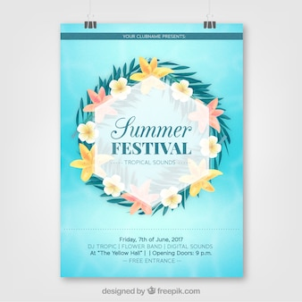 Poster of summer party with flowers