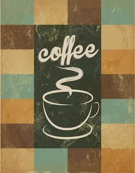 Poster retro with hand drawn cup of coffee